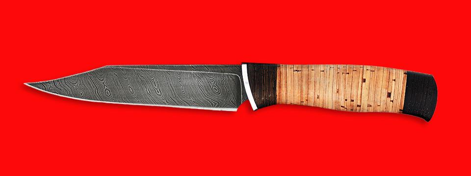 """Нож """"Крым"""", клинок дамасская сталь, рукоять береста"""