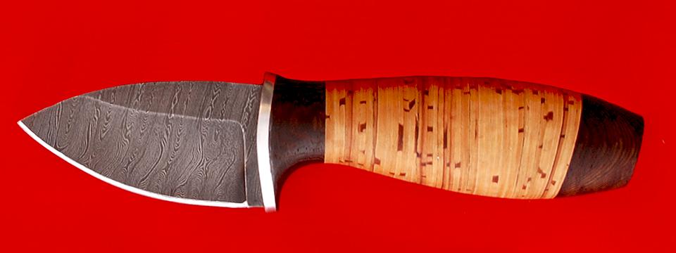 """Нож """"Гном"""", клинок дамасская сталь, рукоять береста"""