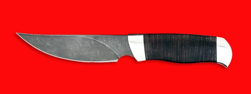 "Нож ""Харза"", клинок дамасская сталь, рукоять кожа, металл"
