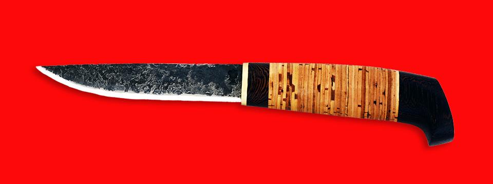 """Нож """"Карелия №2"""", ручная ковка, клинок сталь 9ХС, рукоять береста"""