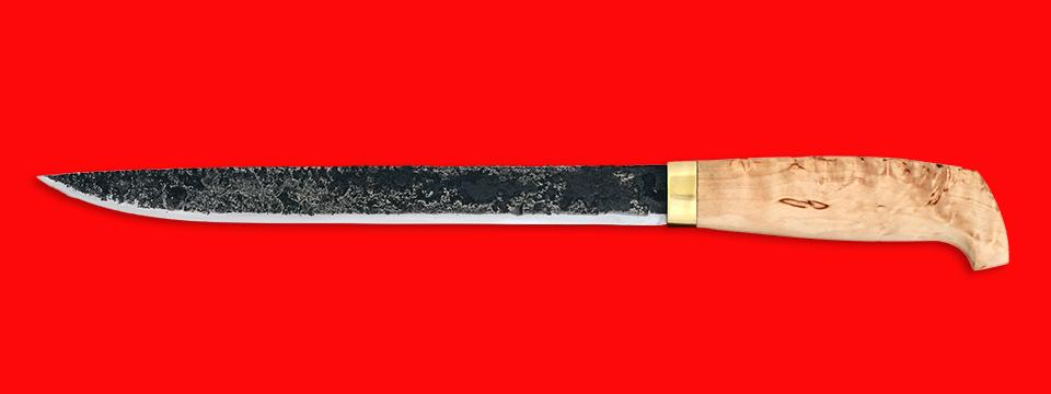 """Нож """"Карелия №5"""", ручная ковка, клинок сталь 9ХС, рукоять карельская берёза"""