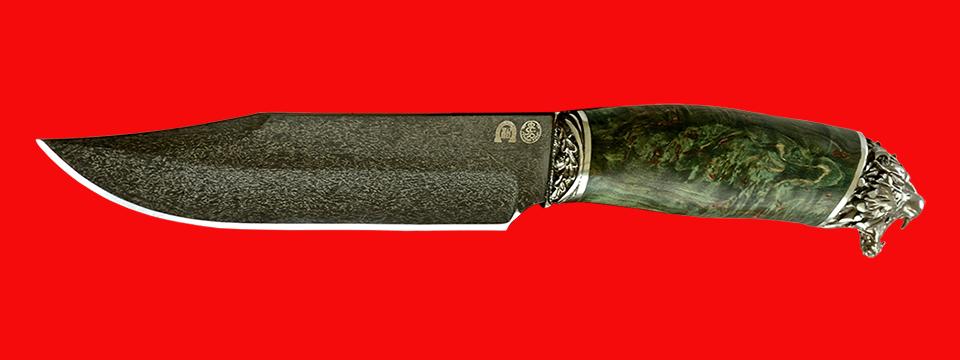 """Нож """"Промысловый большой"""", клинок тигельный булат, рукоять стабилизированная карельская берёза (цвет зелёный)"""