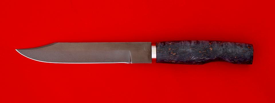 """Нож """"Сапер"""" финка, клинок кованый Х12МФ, рукоять стабилизированная карельская береза, черная"""