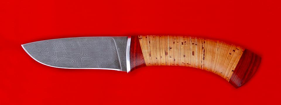 """Охотничий нож """"Снегирь"""", клинок дамасская сталь, рукоять береста"""
