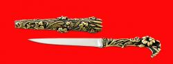 """Авторский нож """"Дамский"""", клинок сталь 95Х18 рукоять и ножны латунь"""