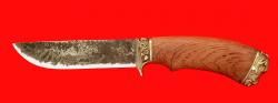 """Охотничий нож """"Грибник-2"""", ручная ковка, клинок сталь 9ХС, рукоять бубинга, мельхиор"""