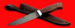 """Нож """"Мясник"""", клинок дамасская сталь, рукоять венге, с отверстием под темляк (ремешок)"""